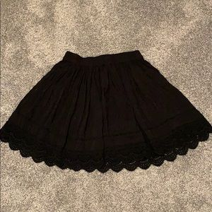 Black Skirt with Crocheted Lace Trim